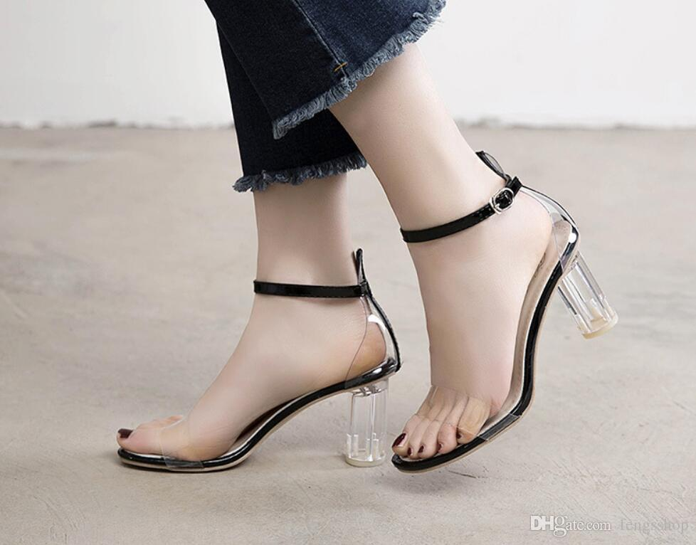 Transparent heels and high heels 2019 new summer sandals fashion versatile one-button popular women's heels fashion dress shoes