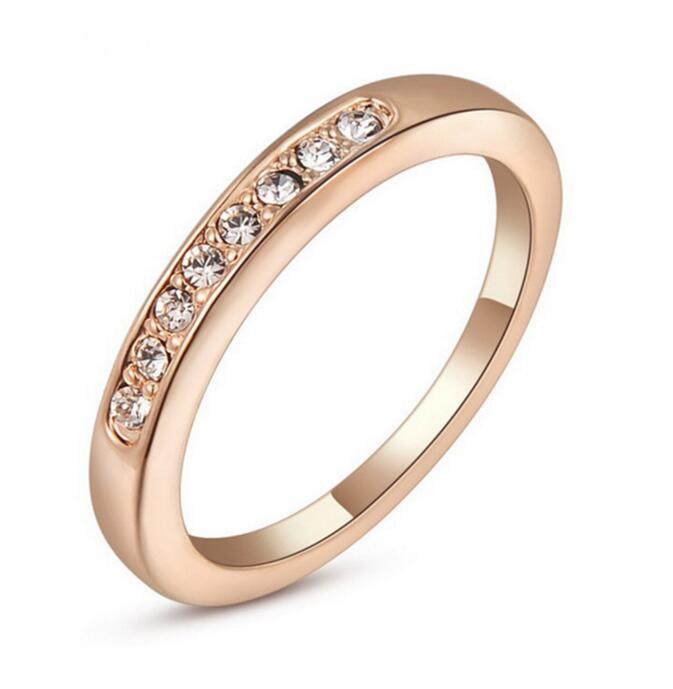 2b24c615 Anillo de diamantes de oro rosa y plata de las mujeres Piedra cúbica de  circonio Aniversario Anillo de piedra de circón de boda Anillo de  compromiso ...