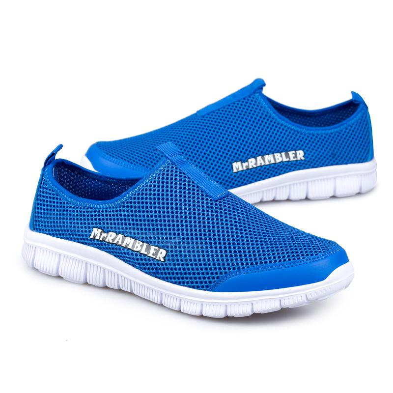 ODMORP Summer Men's Shoes Slip On Network Casual Shoes Men Footwear Breathable Mesh Loafers Size Plus EUR 40-47 Light Zapatos