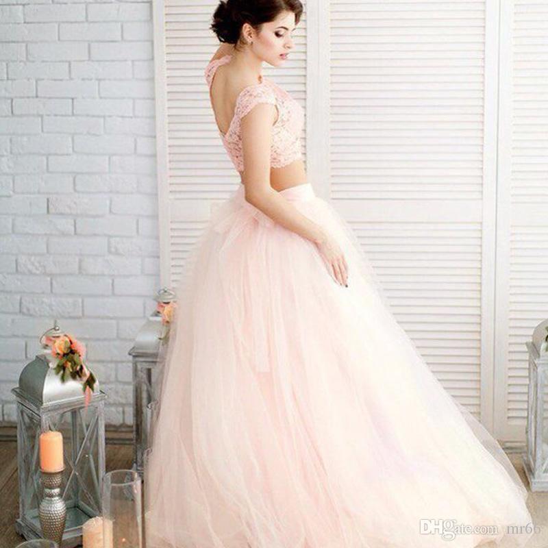 f48ed3055e 2 Piece Light Pink Wedding Dress Beach 2019 Vintage Lace Cap Top Simple  Boho Bridal Dresses Robe Mariage Wedding Dresses