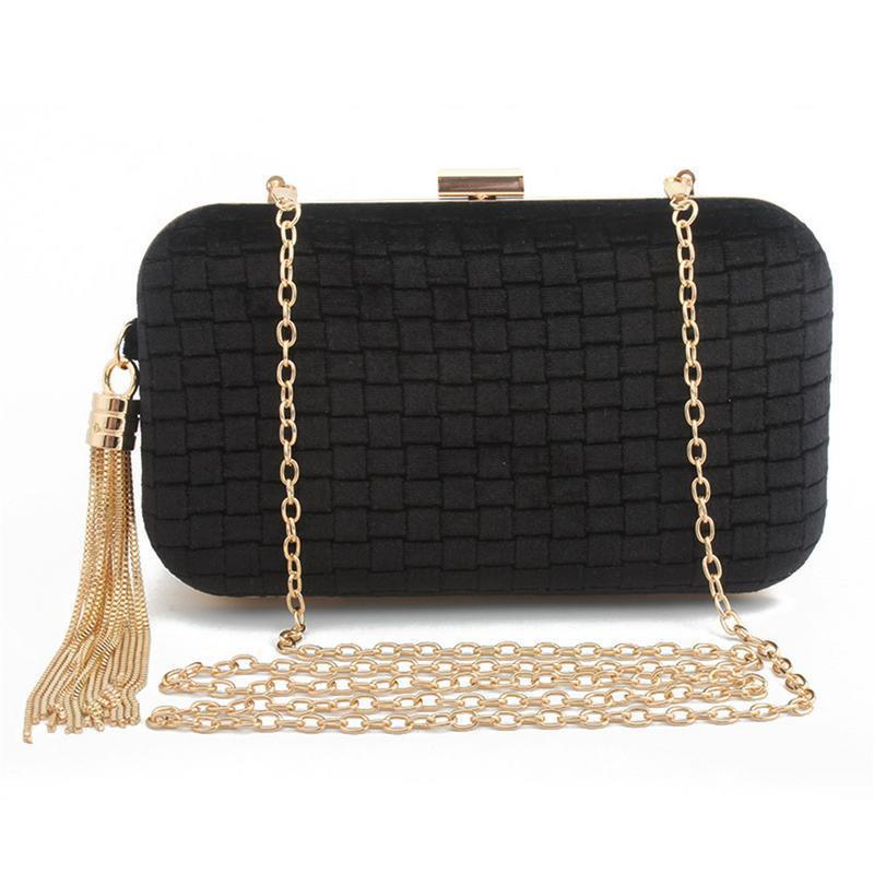 Velvet Shoulder Crossbody Hand Chain Bag For Dinner Women Ladies High-end Banquet Hand Bags Elegant Tassel Messenger Chains Bag