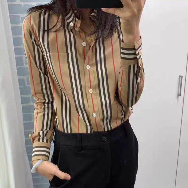 High-Quality 100% cotton Xinjiang-woven poplin Button-down Collar Icon Vertical Stripe Cotton Shirt women's shirts Relaxed-Fit Curved hem