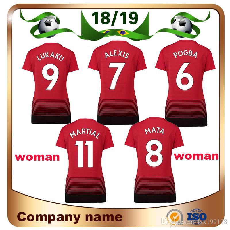 18 19 Woman 6 POGBA Red Devil Soccer Jersey 2018 9 LUKAKU 7 ALEXIS ... 5696bba7718c