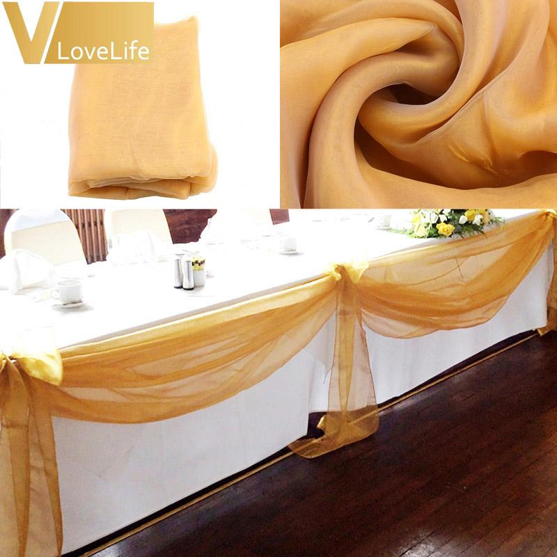 10M x 1.4M Top Table Swags Sheer Organza Swag Fabric Wedding Party Bow Table Decorations DIY