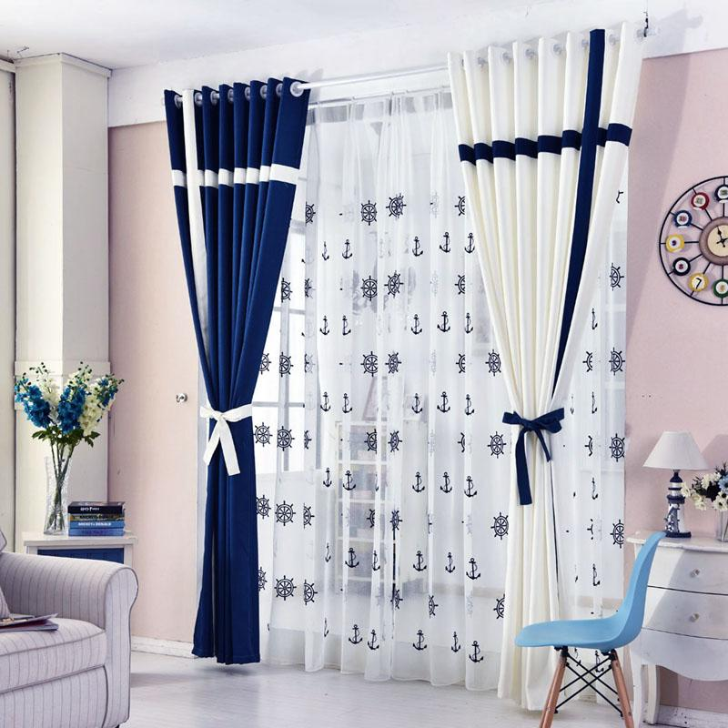Simple Style Window Curtain Solid Color Stitching Blackout Blue and White  Curtain for Living Room Bedroom Tulle Curtains Blinds