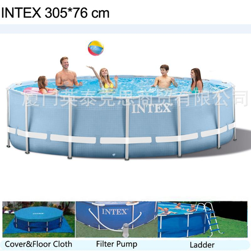 INTEX 305*76 cm Round Frame Above Ground Pool Set 2019 model Pond Family  Swimming Pool Filter Pumpf Cover ground cloth ladder
