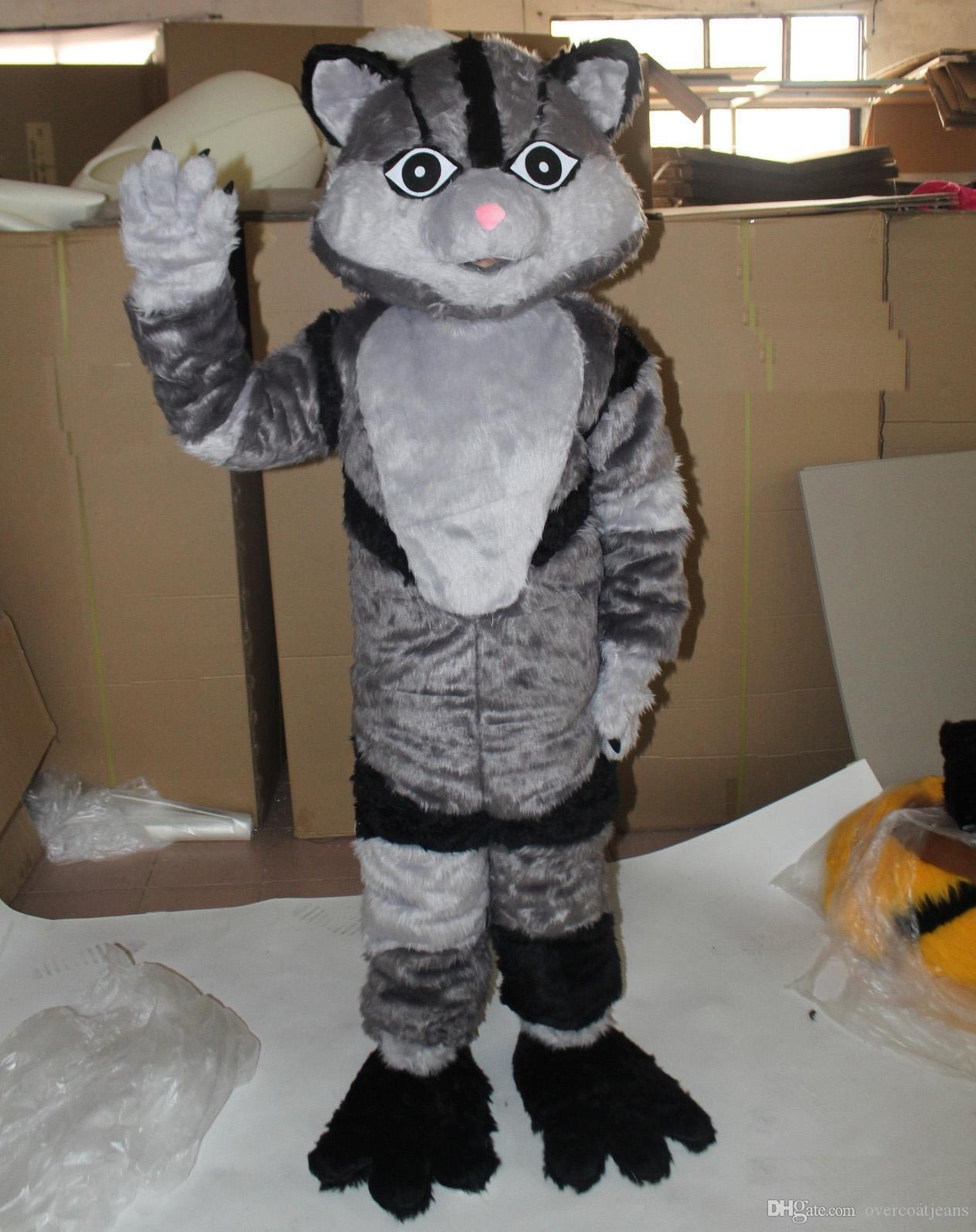 39a8a1903db 2019 Discount factory sale furry cat mascot costume for adult to wear with  2 colours for choice