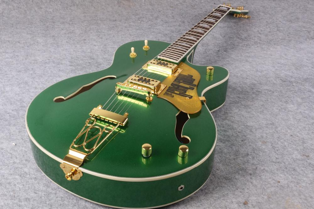 Gre Falcon G6120 Metallic Green Chet Atkins Country Jazz Semi Hollow Body Electric Guitar Pearloid hump block inlay Gold Trapeze Tailpiece