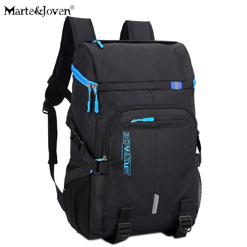 [marte&joven] Multi Pocket Black Travel Backpack For Men Best Teenagers  School Bag Laptop Backpacks Male Travel Rucksack Bags
