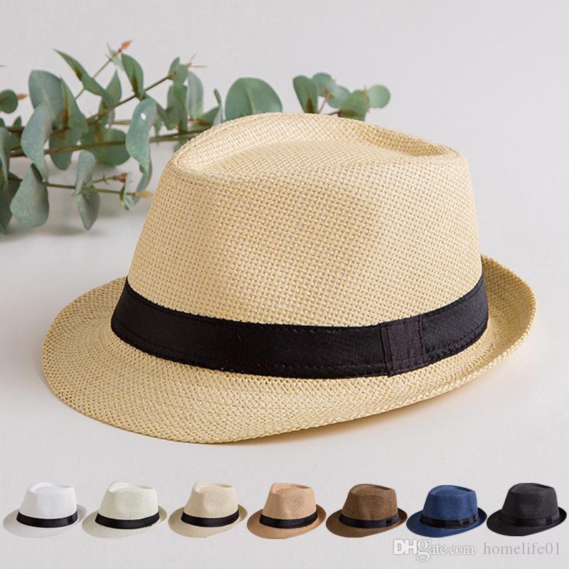 992d3213953b92 Fashion Summer Straw Women Men's Sun Hat Cap Summer Beach Panama Hat ...