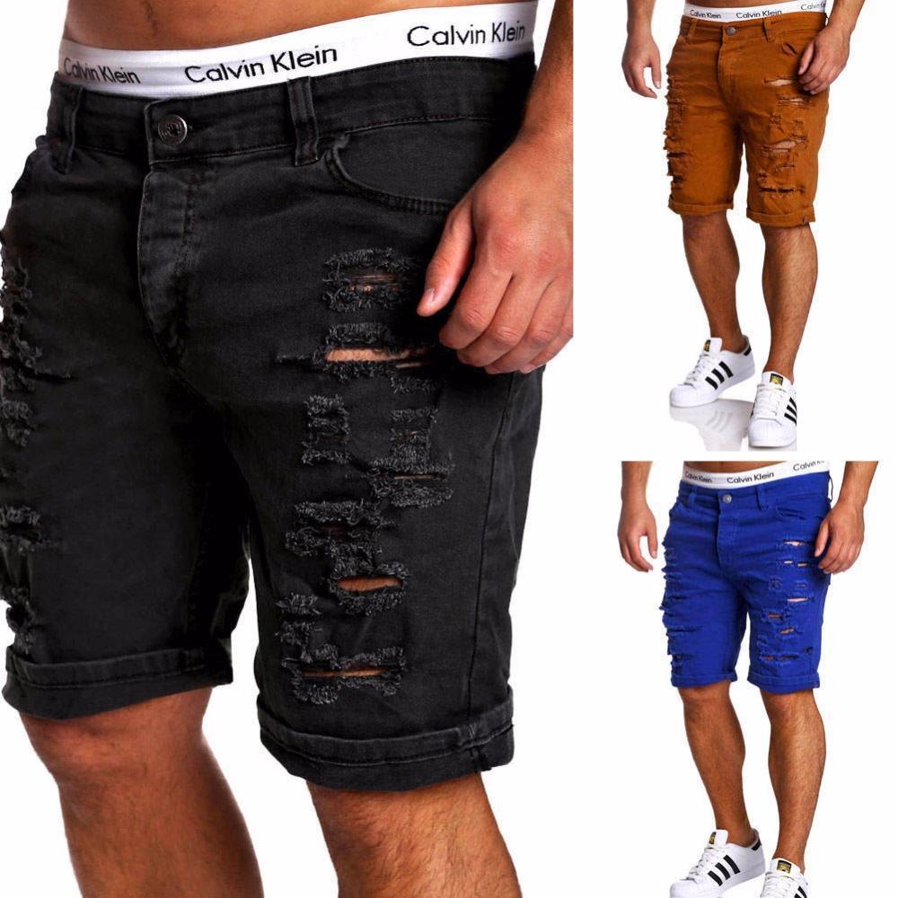 e0c7b71ed7a Compre Pantalones Vaqueros Negros Rasgados Hombres De La Marca Biker Denim  Jeans Verano Casual Slim Fit Lavado Con Agua Algodón Hombres Rectos Jeans  Cortos ...