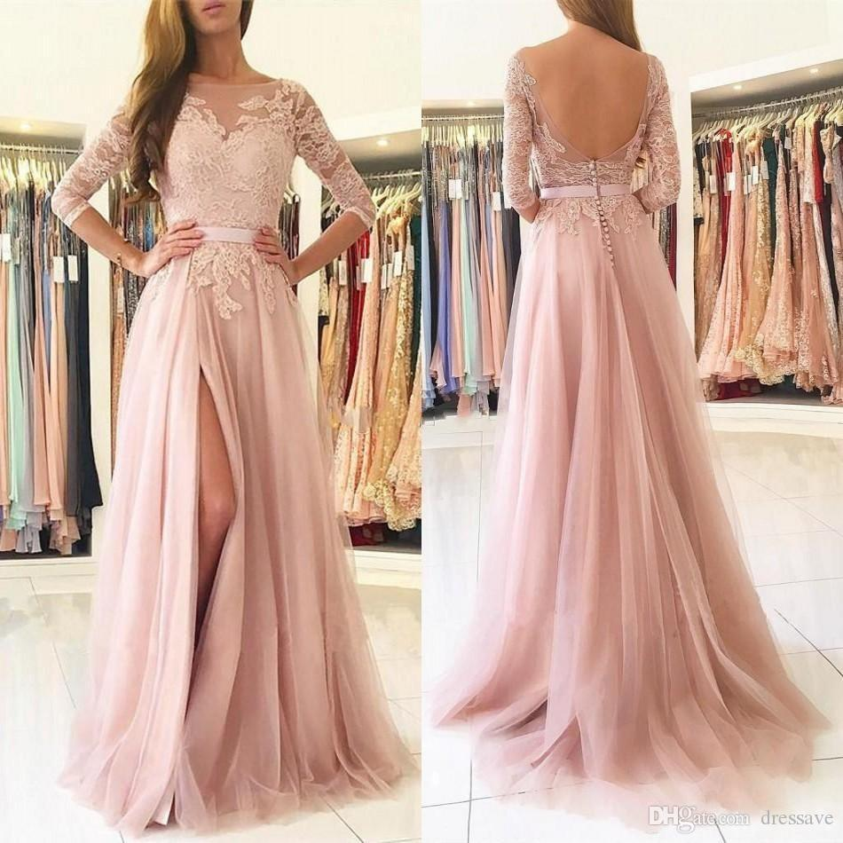 Blush Pink Split Long Prom Dresses Sheer Neck 3/4 Maniche lunghe Backless Appliques Lace Bridesmaids Abiti da sera