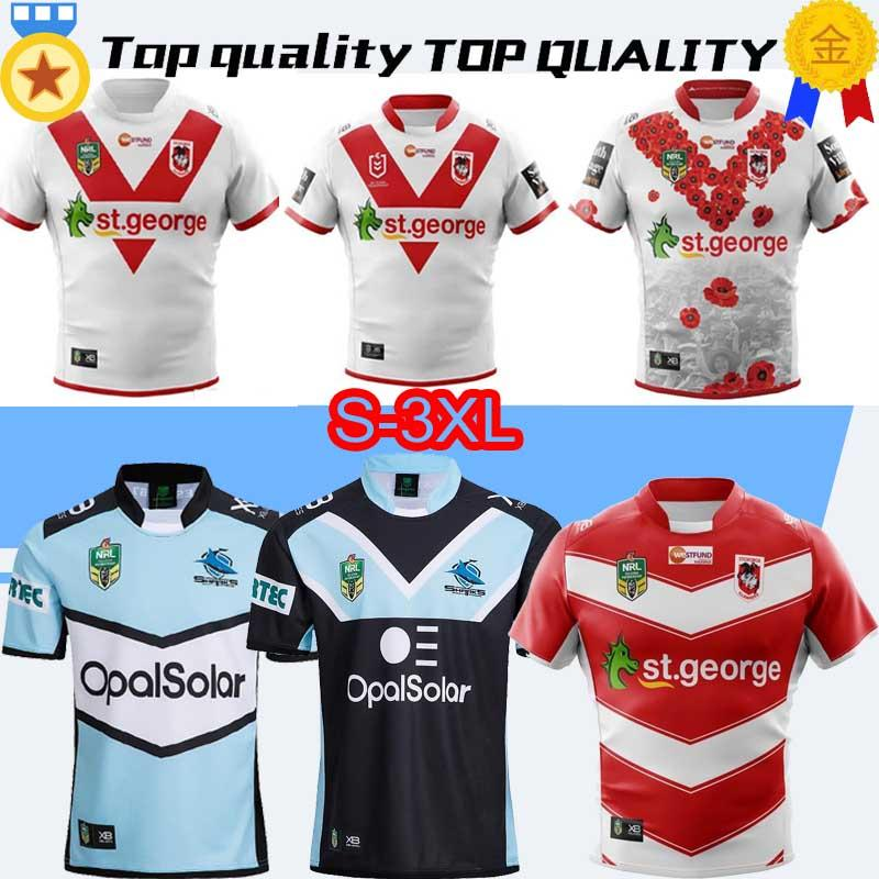 13d6762ccc7 2019 2019 2010 CRONULLA SHARKS St. George Illawarra Dragons Rugby Jersey 18  19 NRL National Rugby League Cronulla Sutherland Sharks Rugby S 3XL From ...