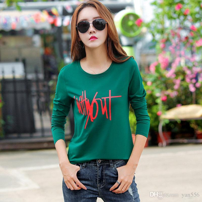 2019 Women T-shirt Autumn Letter Tops Tee Camisetas Mujer Long Sleeve Plus Size Tshirt Casual Print Orange T-shirts Femme