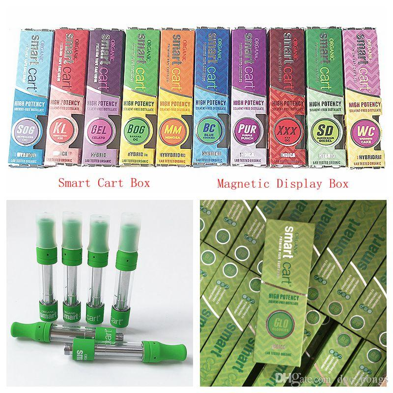 Smart Cart Vape Cartridges Packaging Thick Oil Cartridge 510 Thread Ceramic  Green Vaporizer With Magnetic Display Box Electronic Cigarettes