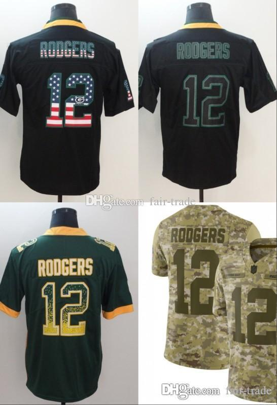 3d05745f2 2019 12 Aaron Rodgers Green Jerseys Packers 2018 USA Flag Fashion Impact  Lights Out Black Color Rush Drift Camo Salute To Service Olive Limited From  Fair ...