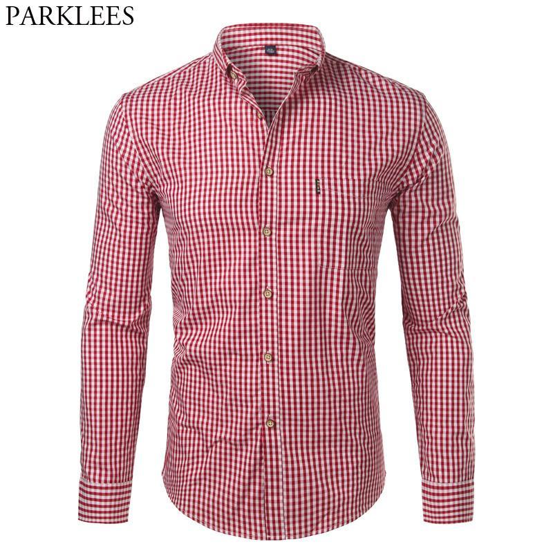 440444c49e6 2019 Mens Plaid Cotton Casual Slim Fit Long Sleeve Button Down Dress ...
