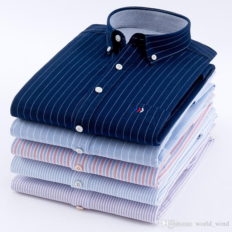 b1f97fe3c6 2019 Men'S Oxford 100% Cotton Fashion Stripe Casual Long Sleeve Shirts  Retro Style High Quality Design Men'S Dress Shirts Blouse #389001 From  World_wind, ...