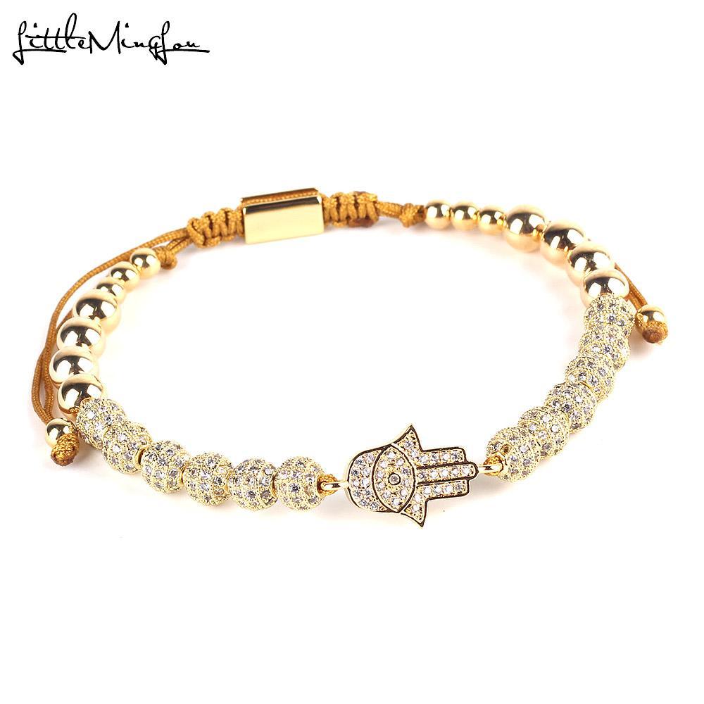 lusso CZ Evil mano Occhi braccialetto palla Charm perle di rame Intrecciato regolabile a mano uomo Bracciali Braccialetti le donne Gioielli