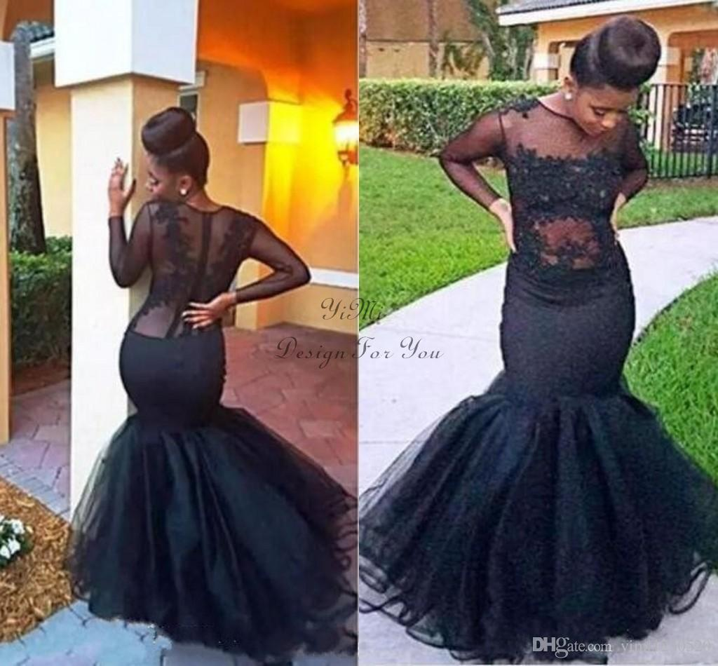 Classic Black Mermaid Evening Dresses 2019 Plus Size See Through Long  Sleeve Sweep Train Applique Formal Prom Party Gowns vestidos de fiesta