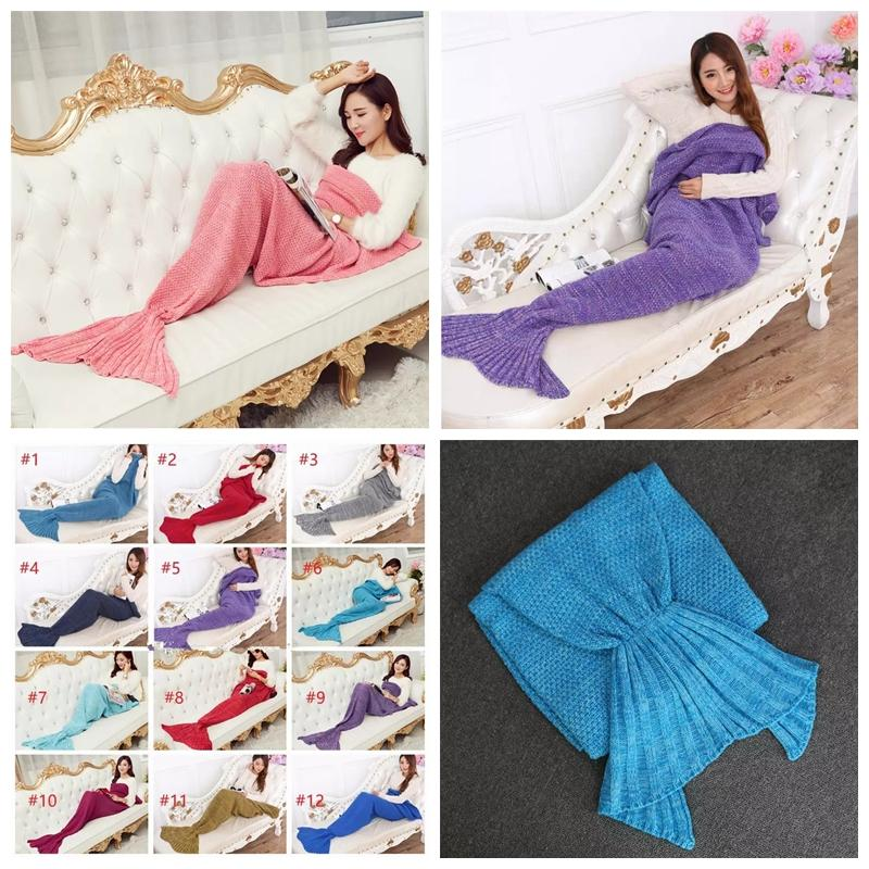 180cm90cm Mermaid Blankets Mermaid Tail Knitted Blanket Adult