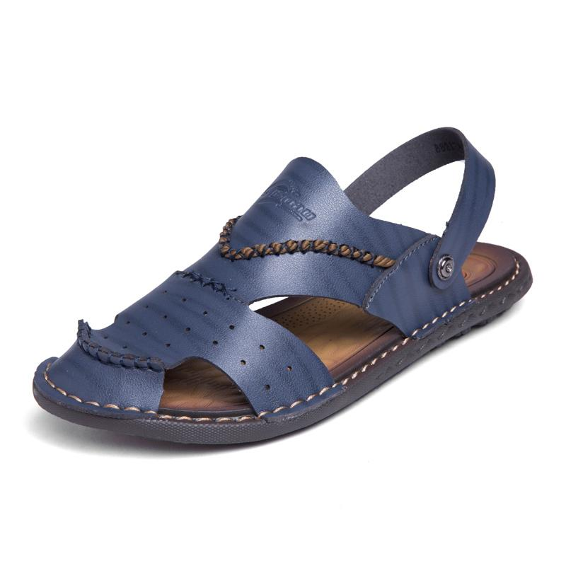 33360e84c873 DXKZMCM 2019 Mens Leather Flip Flops Genuine Leather Breathable Slippers Men  Casual Beach Shoes Fashion Sandals Summer Nude Wedges Bridal Shoes From ...
