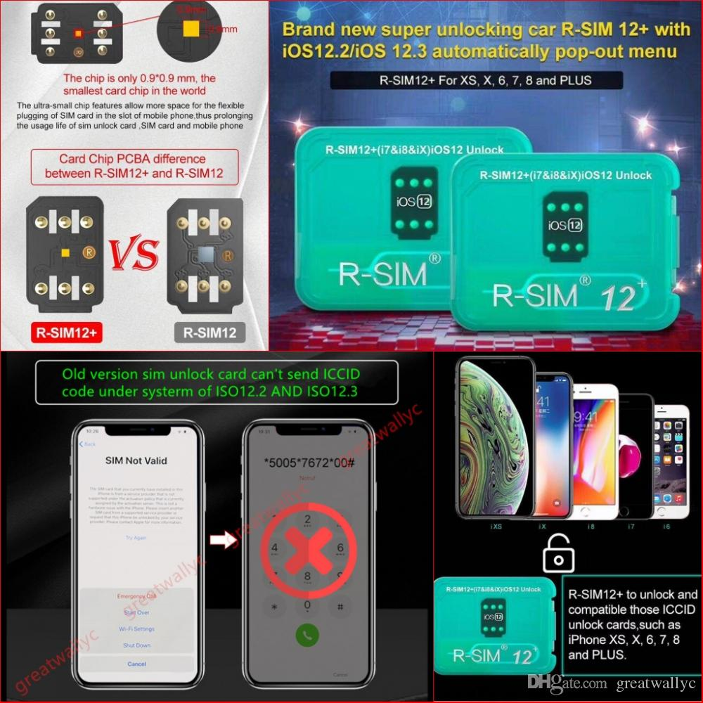 RSIM12 Perfect Unlock For ISO 12 3 R-sim 12 Original SIM Card ICCID Unlock  For Iphone XS X 8 7 VS R-SIM 14