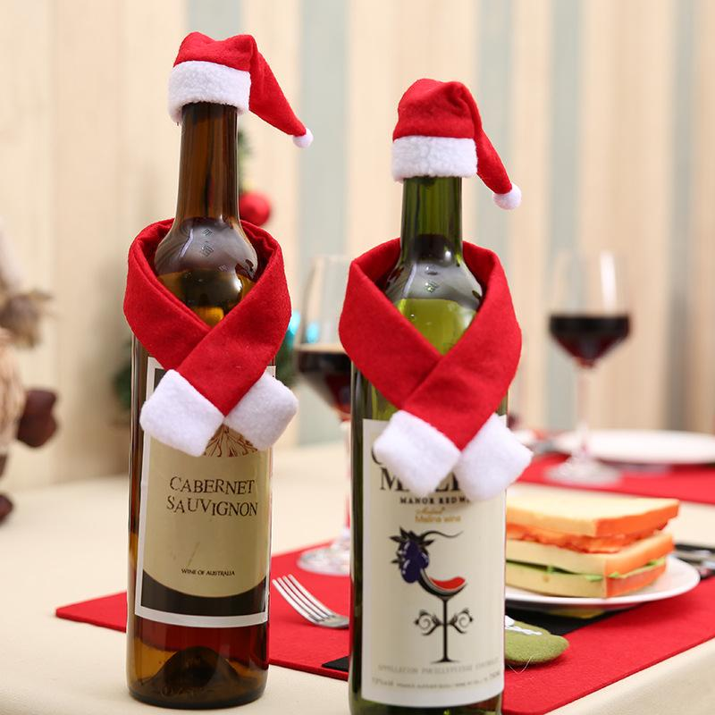 3pcs/set Christmas Decoration Scarf and Hat Bottle Covers Santa Claus Hats Wine Champagne Bottle Decorations For Xmas Home Party