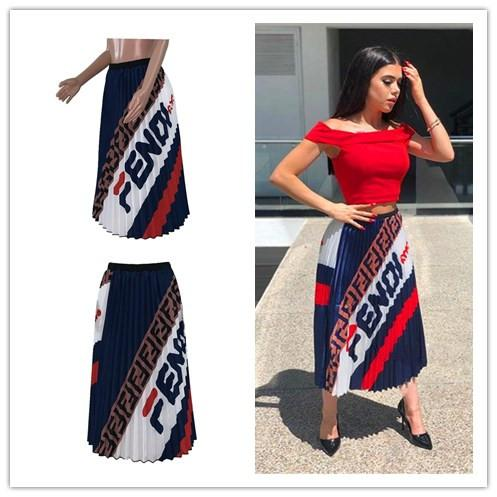 509aacc2b 2019 Women Summer Pleated Long Dress Double F Letter Retro Vintage Elastic  Waist A Line Maxi Skirt Party Street Dresses Fashion 2019 S XL C42205 From  ...