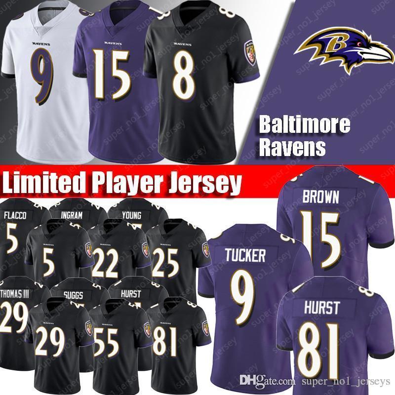 timeless design 30af2 8759c Baltimore Jerseys Ravens 8 Lamar Jackson Jerseys 9 Justin Tucker Jersey 15  Marquise Brown 29 Marlon Humphrey 55 Terrell Suggs 5 Joe Flacco