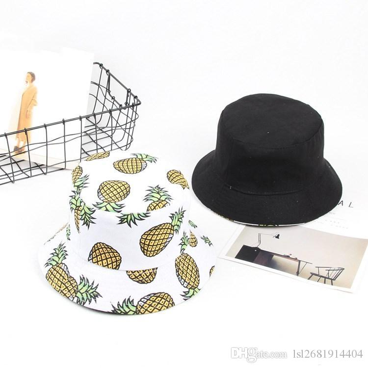 5bcd3003bf2 LDSLYJR 2018 Two Sided Pineapple Print Bucket Hat Fisherman Hat Outdoor  Travel Hat Sun Cap Hats For Men And Women 484 Felt Hat Summer Hats From ...