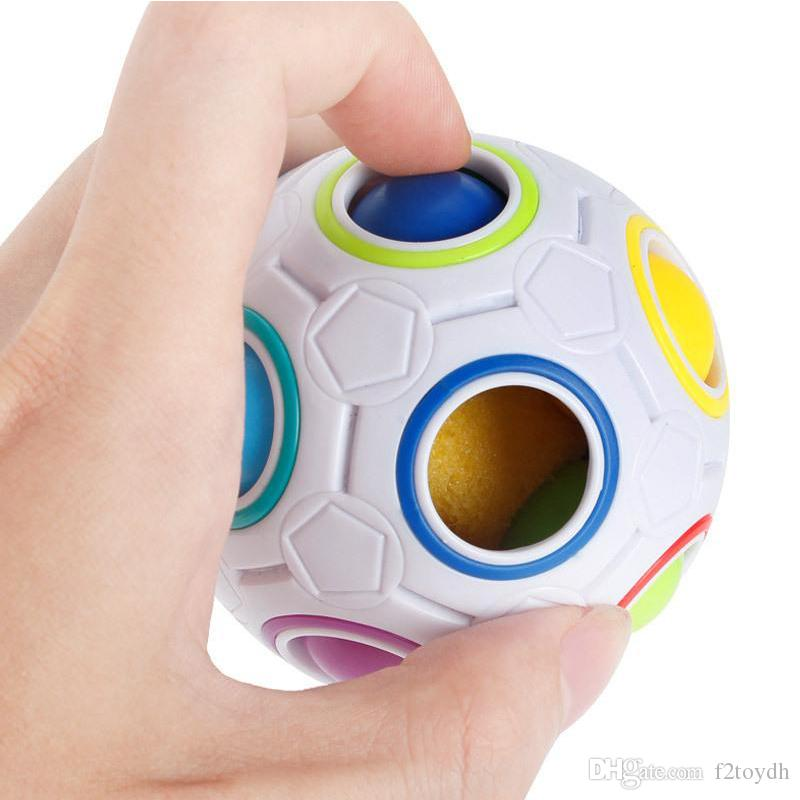 Novelty Intelligence Children's Toys Puzzle Decompression Rubik's Cube Magic Rainbow Ball For Kids Creative Finger Football
