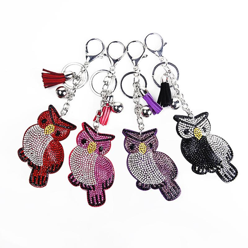 New innovative animal owl shaped keychain pendant with a Glass drill pendant lady bag car key pendant.