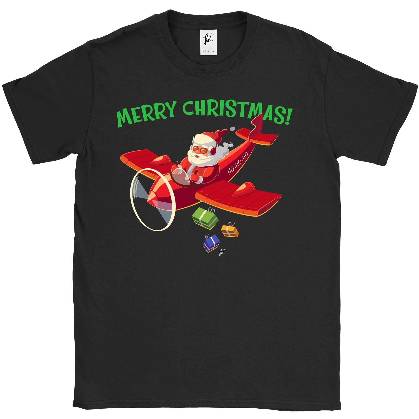 Santa Delivers Presents Gifts Plane For Christmas Mens T Shirt