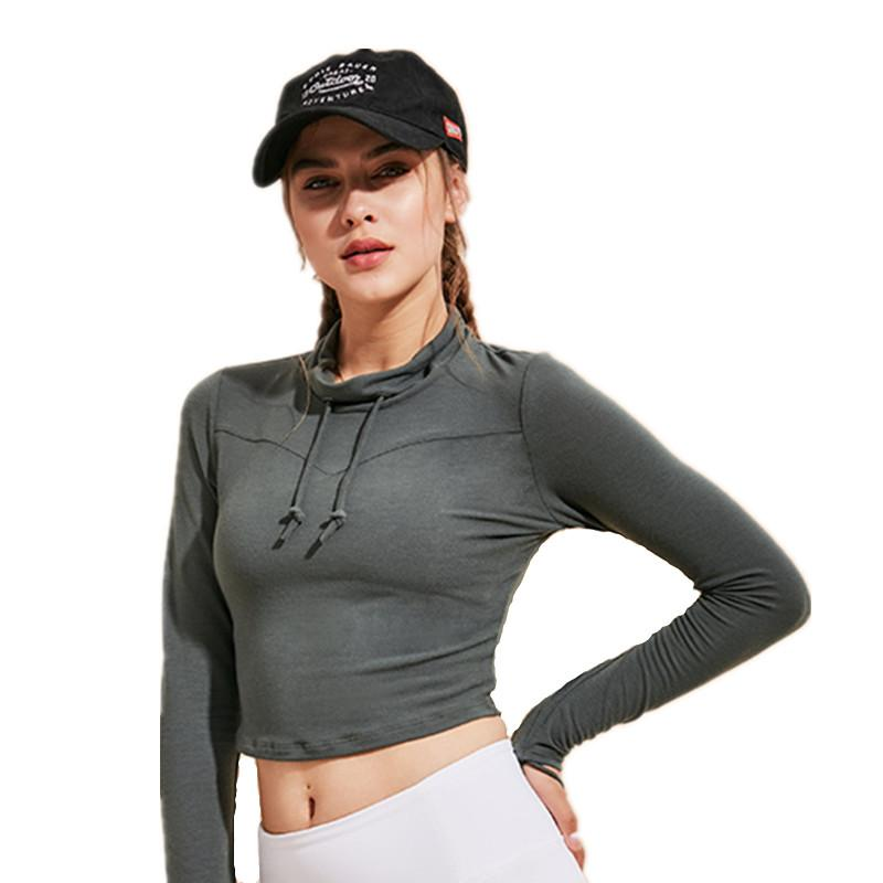 04d2923cd74 2019 Women Cropped High Collar Long Sleeve Fitness Top Sports Wear Crop Top  Gym Yoga Shirt Thumb Hole Fitted Workout Running T Shirt From Lianqiao, ...