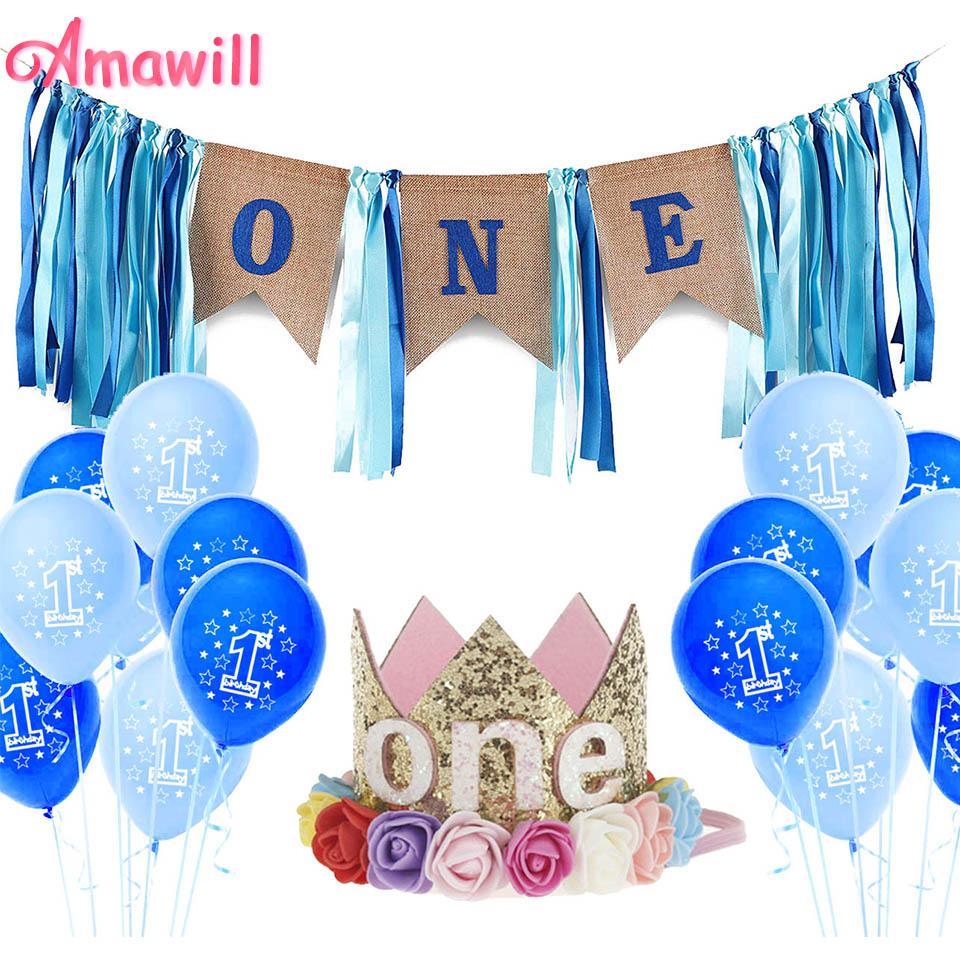 Amawill First Birthday Boy 1 Year Banner Party Decoration Balloon 1st Child Kids 7D Kid Supplies Decorations