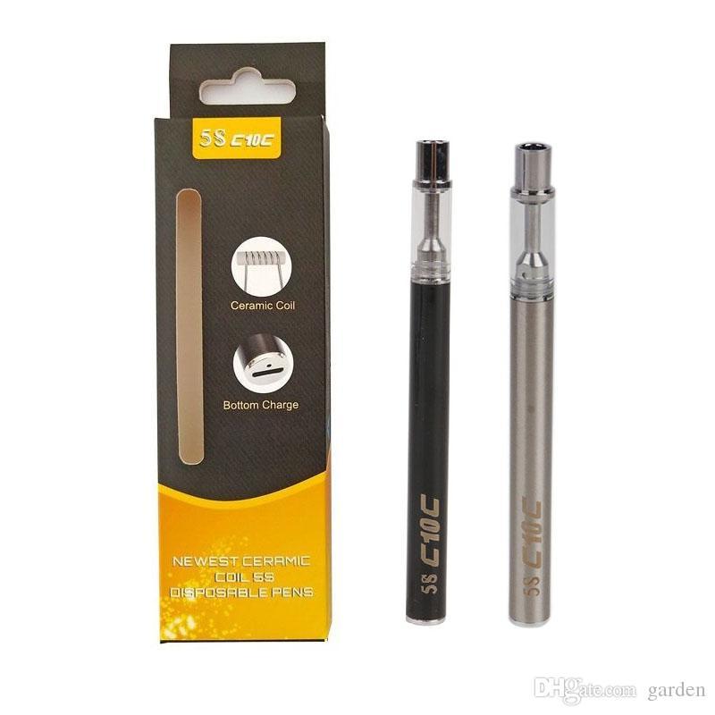 Original Mjtech 5S Disposable Vape Pen Starter Kit C1 C2 Thick Oil 320mAh with Bottom USB Charge Ceramic Coil Tank Cartridge 100% Authentic
