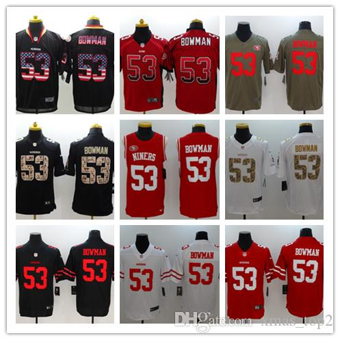 New Mens 53 NaVorro Bowman Jersey San Francisco 49ers Football Jersey 100%  Stitched Embroidery NaVorro Bowman Color Rush Football Shirt Wedding Suits  ... 9323c4fcd
