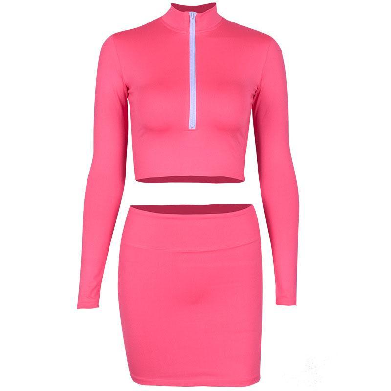 497962478ee ZHYMIHRET 2018 Sexy Autumn Neon Color Two Piece Set Dress Women's Long  Sleeve Zipper Front Crop Tops Pencil Mini Skirt Suit Set
