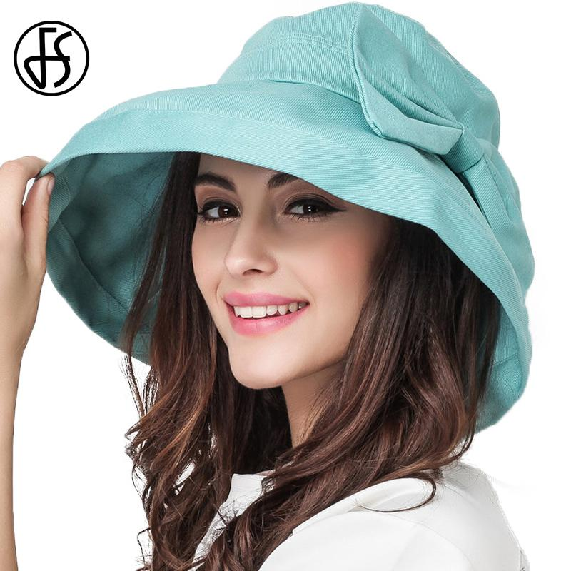 wholesale Large Brim Cotton Sun Hats For Women Summer Foldable Beach Holiday Hat With Bowknot Visor Cap Mint Blue Khaki Pink