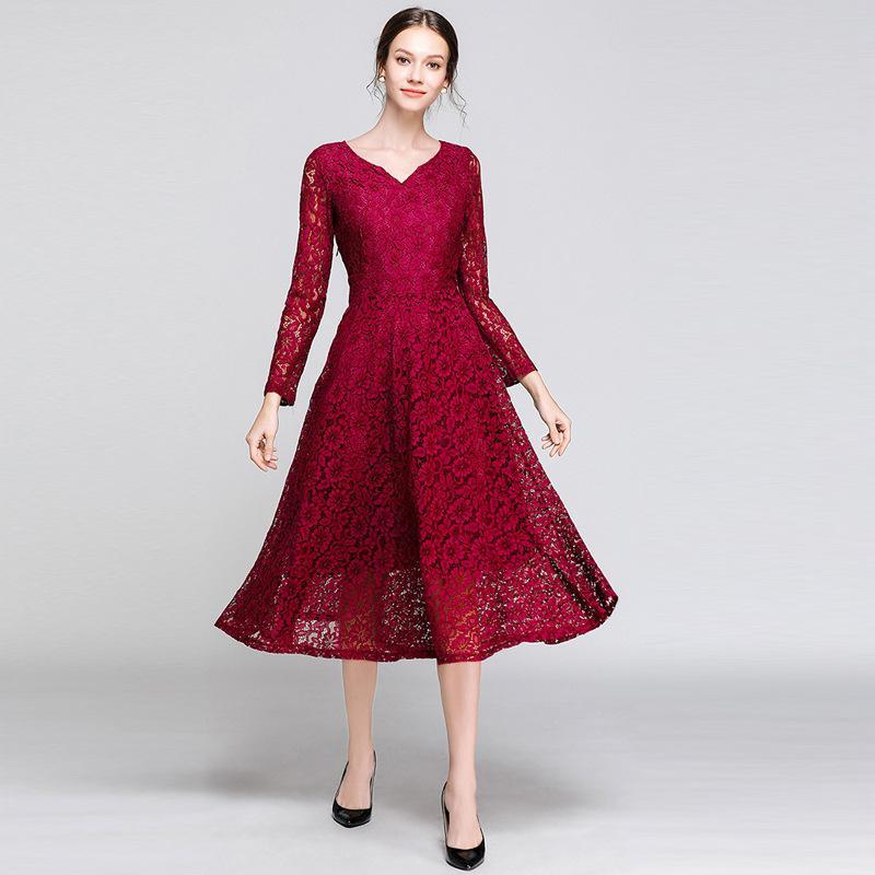 e7becd6a7 Compre Elegante Vestido De Fiesta Rojo Vestido De Fiesta Con Encaje De  Encaje De Manga Larga Vestidos De Noche Formales Vestidos Para Ocasiones  Especiales A ...