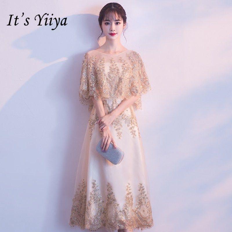 fd61ed25e6f51 It s YiiYa O-neck Shawl Beading Bridesmaid Dresses Elegant Lace  Ankle-length Slim A-line Frocks