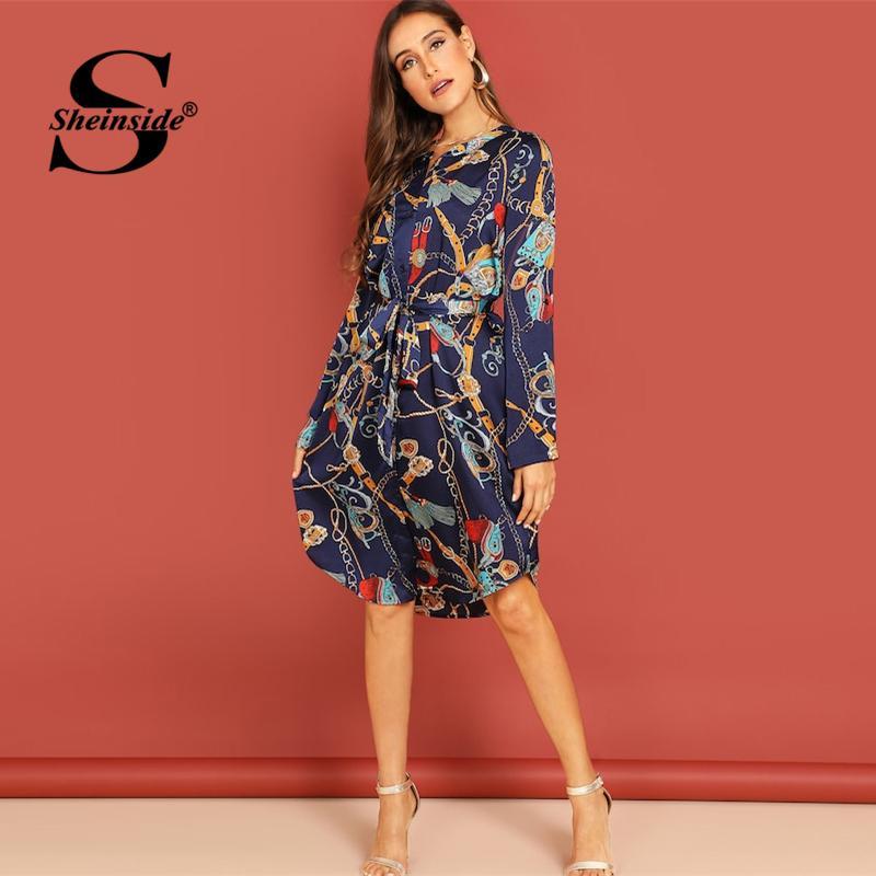 40ee33f43 Compre Sheinside Fashion Chain Impreso Camisa Vestido Mujer Casual Midi  Vestidos 2019 Primavera Elegante Dobladillo Curvado Con Cinturón Vestido  Recto A ...