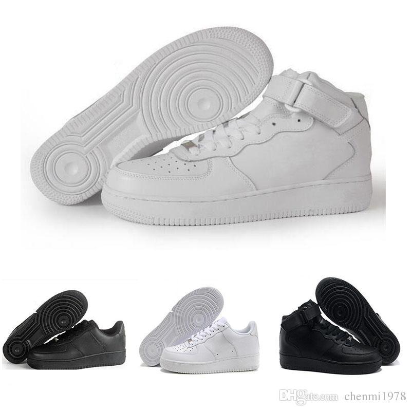 lowest price 92bda 0ecfa Compre Nike Air Force 1 Leather AF1 2018 Dunk Clásico Corte Bajo Hombres  Mujeres Zapatillas De Deporte Forzadas Entrenadores Blanco Negro Casual Uno  1 ...