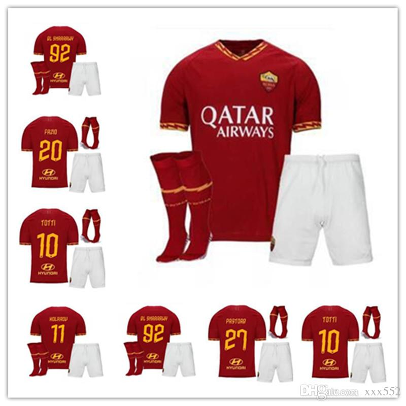 promo code 8798d 0f391 ADULT KITS 2019 2020 AS ROMA home TOTTI soccer jersey 19 20 rome DE ROSSI  DZEKO EL SHAARAWY PASTORE red men football shirt