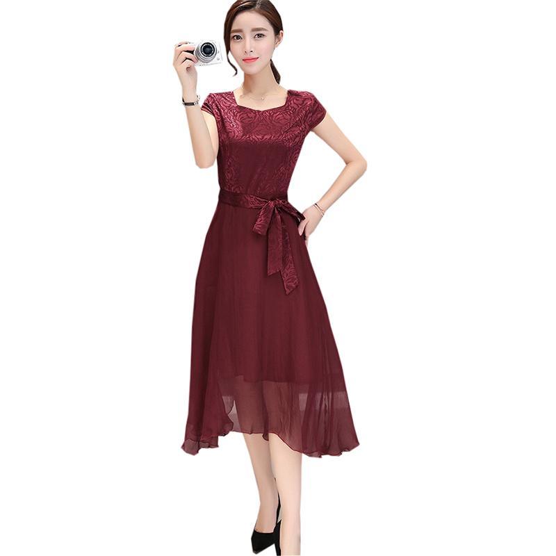 c14930959 Compre Color Sólido De Moda Vestidos Largos 2019 Seda Del Verano Estampado  Floral Vestido De Manga Corta Mujer Casual Big Swing Bow Dress Re0607 A   85.84 ...