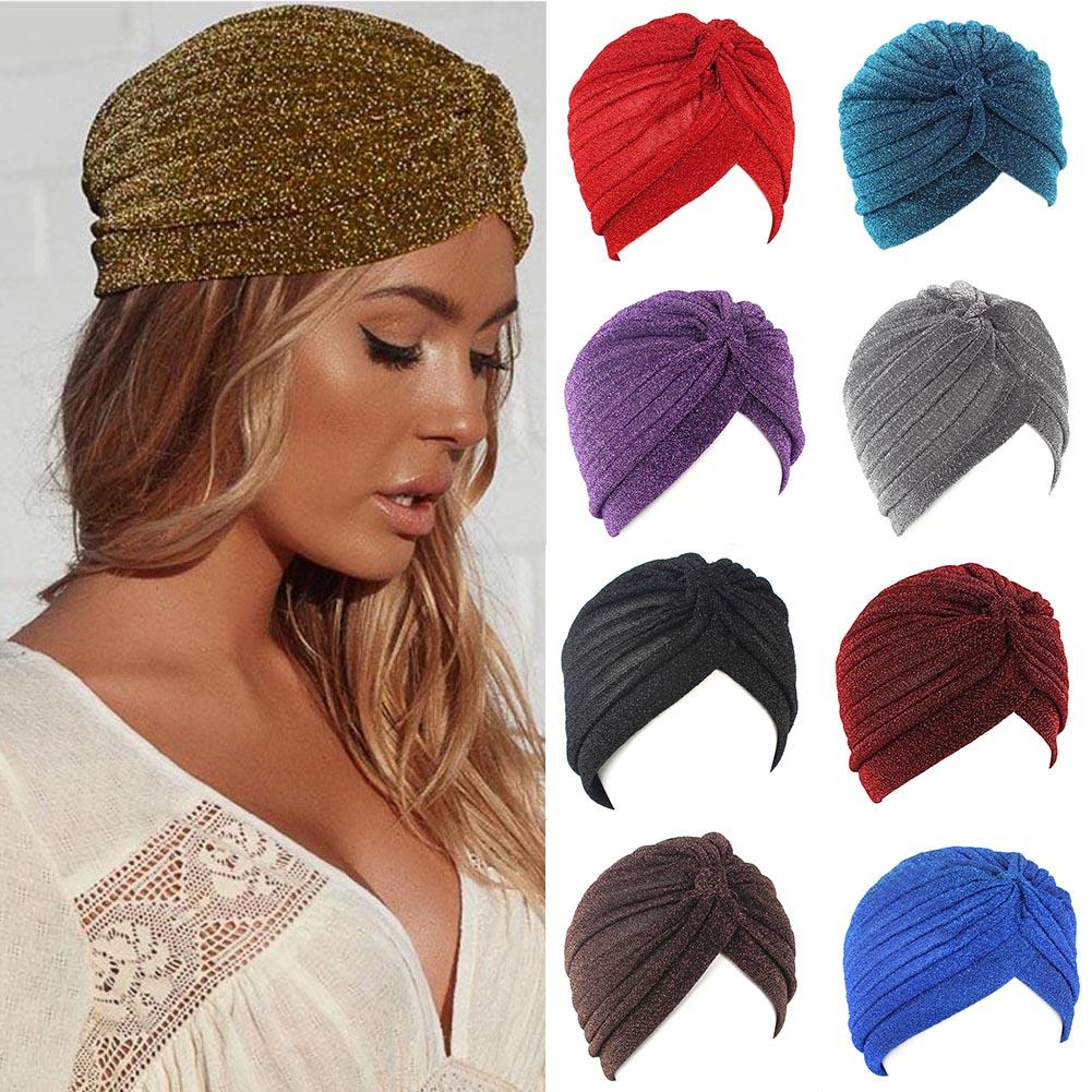 Bling Bandanas Women Hats Gold Silk Headband Knot Twist Turban Cap Warm  Headwear Casual Indian Muslim Hat Ladies Bandanas Caps Hair Bow Accessories  Hair ... b87f81d7f61