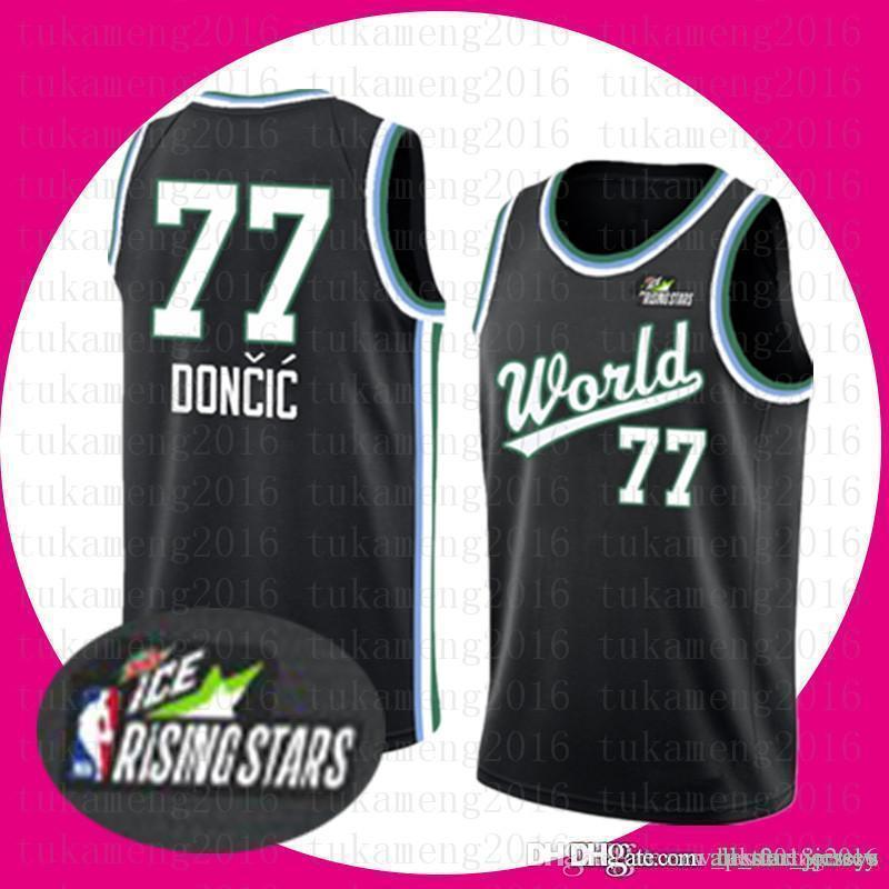 brand new 2bbfc 3b230 Dallas # Mavericks Top sale Luka 77 Doncic Jersey Kristaps 6 Porzingis Mens  2019 new The City ice Rismg Stars Basketball Jerseys