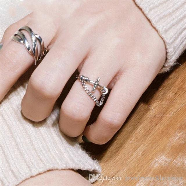 2019 Hand-made 925 Sterling Silver Cross with Chain Open Rings for Women