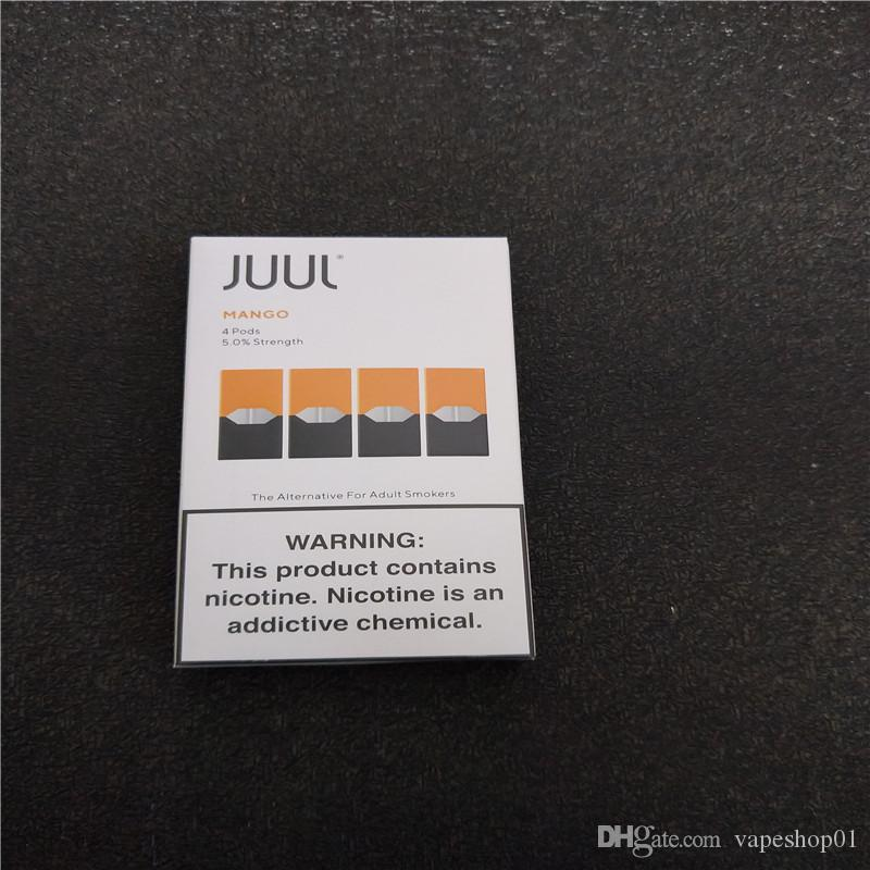 2020 NEW Juul Pods cartridge latest Package for juul device 4 pods 1 pack  hot flavors mango Cool Mint pods free shipping